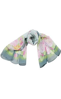 Elegant Tulle With Flower Print Daily Wear Scarf