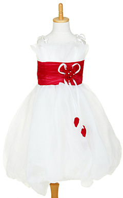 Sweet Sleeveless Organza &amp; Satin Wedding/Evening Flower Girl Dress