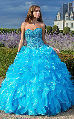 Ball Gown Sweetheart Floor-length Organza Prom/Evening Dress With Cascading Ruffles