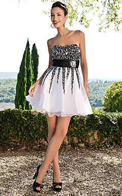 A-line Sweetheart Short/Mini Satin And Organza Dress With Sequins