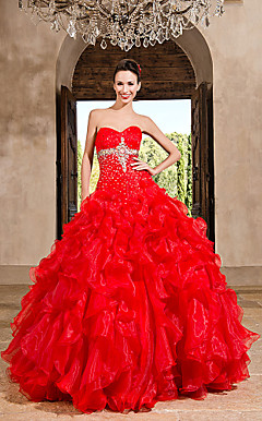 Ball Gown Sweetheart Floor-length Organza Dress With Beading