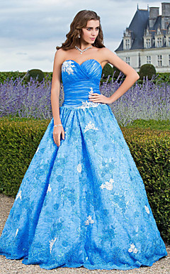 Ball Gown Sweetheart Floor-length Satin And Tulle Evening Dress With Appliques
