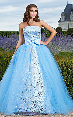 Ball Gown Strapless Floor-length Tulle And Sequined Evening Dress
