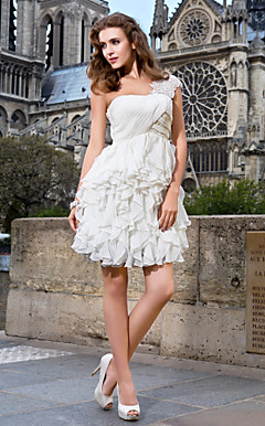 A-line One Shoulder Short/ Mini Chiffon Wedding Dress