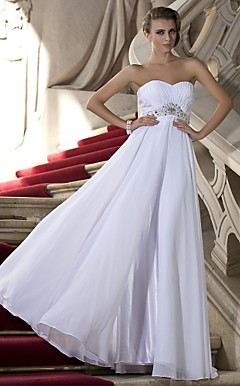 Sheath/Column Sweetheart Strapless Floor-length Chiffon Evening Dress