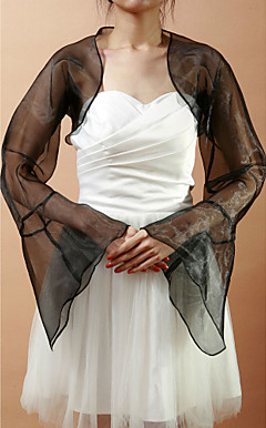 Stunning Long Bell Sleeve Organza Wedding / Evening Jacket / Wrap (flere farger)