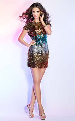 Sheath/Column Bateau Short/Mini Sequined Cocktail Dress