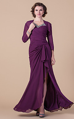 Sheath/Column V-neck Floor-length Chiffon Mother of the Bride Dress With A Wrap