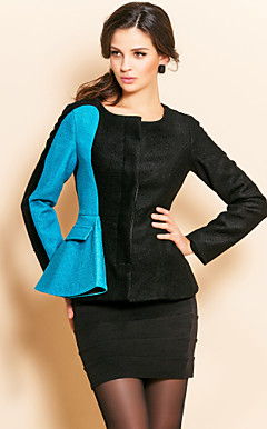 TS Contrast Color Ruffle Waist Slim Tweed Jacket