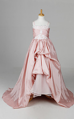 Pretty Sleeveless Taffeta Wedding/Evening Flower Girl Dress With Flower