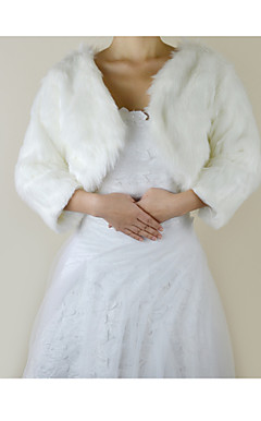 Nice 3/4-Length Sleeve Faux Fur Evening/Wedding Jacket/Wrap