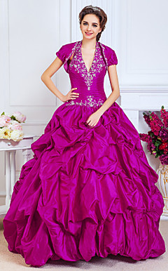 Ball Gown Halter Floor-length Taffeta Evening Dress With A Wrap