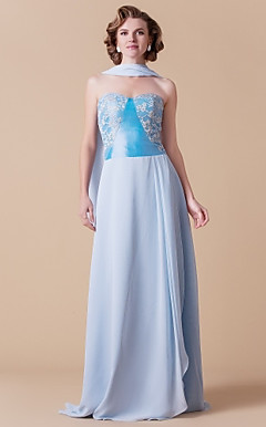 Sheath/Column Sweetheart Floor-length Chiffon And Taffeta Mother of the Bride Dress With A Wrap