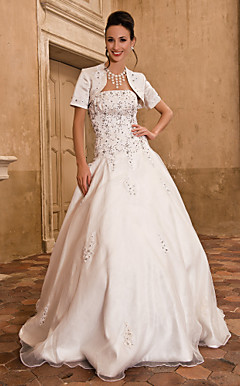 Ball Gown Strapless Floor-length Wedding Dress With Satin Wrap