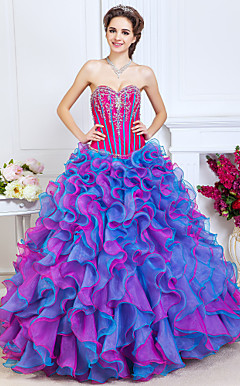 Ball Gown Sweetheart Floor-length Organza Evening Dress With Cascading Ruffles And Crystal Detailing