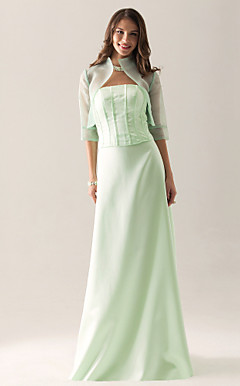 Sheath/ Column Strapless Floor-length Satin Organza Separate Bridesmaid/ Wedding Party Dress With a Wrap