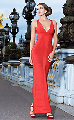 Sheath/Column V-neck Floor-length Bandage Dress