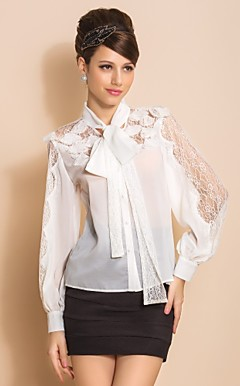 TS Lace Long Bow Camisa Blusa manga