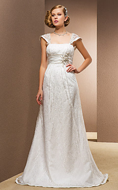A-line Princess Square Floor-length Wedding Dress With Removable Straps