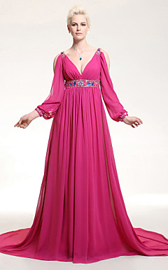 A-line V-neck Empire Court Train Chiffon Evening Dress