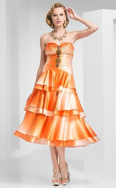 A-Line Spaghetti Straps Tea-Length Satin Evening Dress