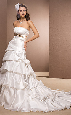 A-line Princess Strapless Taffeta Court Train Wedding Dress with A Belt and Pick-ups