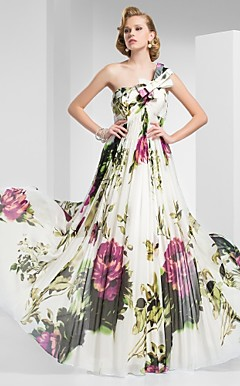 A-line One-Shoulder Floor-length Print Chiffon Evening Dress