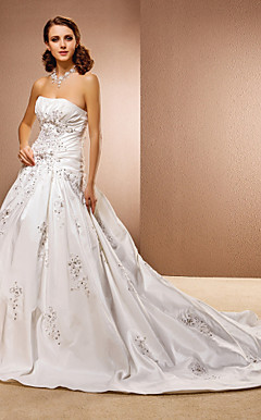 Ball Gown Sleeveless Chapel Train Taffeta Wedding Dress