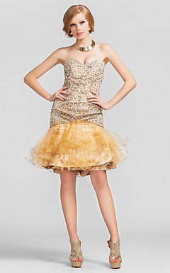 Trumpet/Mermaid Sweetheart Short/Mini Sequined And Tulle Cocktail Dress