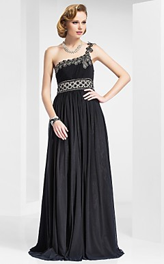 Sheath/Column One Shoulder Floor-length Stretch Satin Evening Dress
