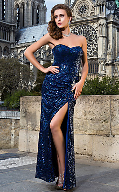 Sheath/Column Sweetheart Floor-length Sequined Evening Dresses