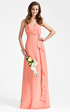 Sheath/Column Strapless Floor-length Side-Draped Chiffon Bridesmaid Dress