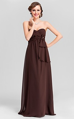 A-line Sweetheart Floor-length Chiffon Bridesmaid Dress with Removale Straps
