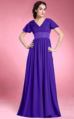 Sheath/ Column V-neck Short Sleeve Floor-length Chiffon Matte Satin Mother of the Bride Dress