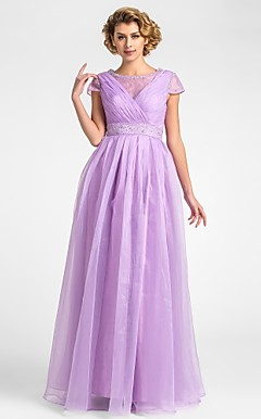 A-line Jewel Floor-length Organza Mother of the Bride Dress