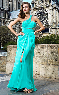 Shining Sheath/Column One Shoulder Floor-length Chiffon Evening Dresses