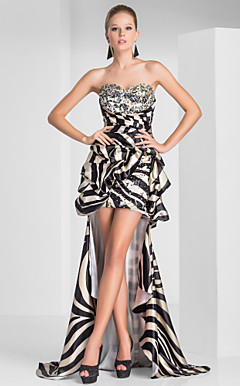 Sheath/Column Sweetheart Asymmetrical Polyester Evening Dress