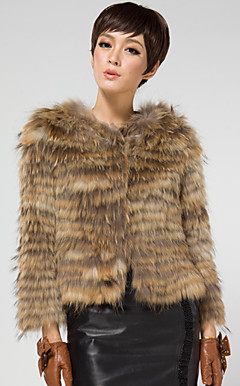 Long Sleeve Collarless Raccoon Fur Casual/Office Jacket (More Colors)