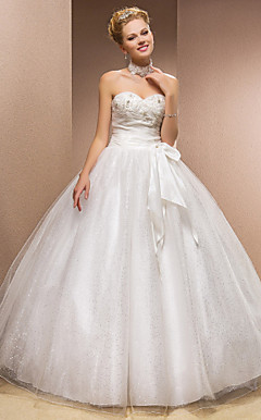 Ball Gown Sweetheart tulle abito da sposa pavimento-lunghezza con spalline removibili