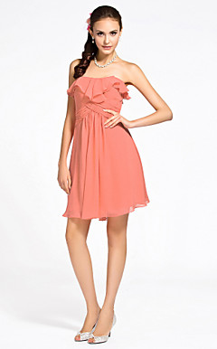 Sheath/Column Strapless Knee-length Chiffon Bridesmaid Dress
