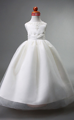 Ball Gown Straps Floor-length Satin Flower Girl Dress