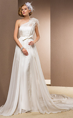 Sheath/Column One Shoulder Court Train Chiffon And Organza Wedding Dress