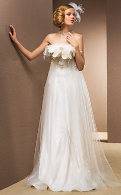 A-line Princess Floor-length Feather And Stretch Satin Wedding Dress With Removable Straps