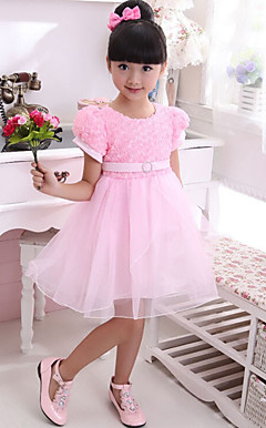 Lovely Short Sleeve Polyester/Tulle Wedding/Evening Flower Girl Dress
