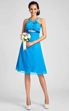 A-line Straps Knee-length Chiffon Bridesmaid Dress