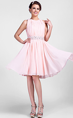 A-line Jewel Knee-length Chiffon Cocktail Dress