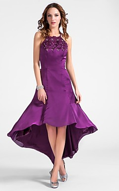 A-line Halter Asymmetrical Satin Chiffon Cocktail Dress