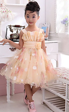 Dejlig rmels Polyester / tyl bryllup / Evening Flower Girl Dress