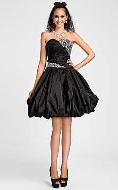 Ball Gown Sweetheart Knee-length Taffeta Cocktail Dress