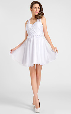 A-line Halter Short/Mini Chiffon Cocktail Dress